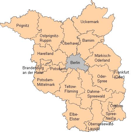 Karte des Landes Brandenburg